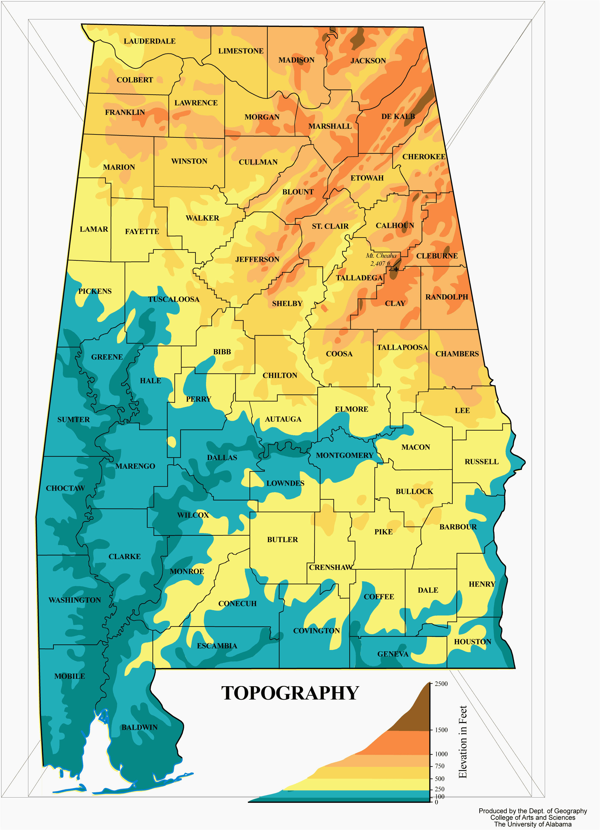 Tennessee Elevation Map topographic Map Of Mobile Alabama ...