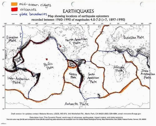 color coded and labelled world earthquake map good activity 5th