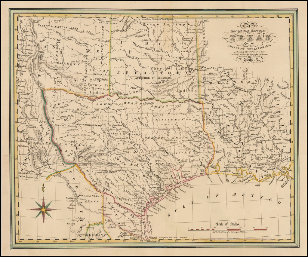 a map of the republic of texas and the adjacent territories