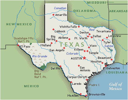 Texas Map with Cities and Rivers Us Map Texas Cities ...