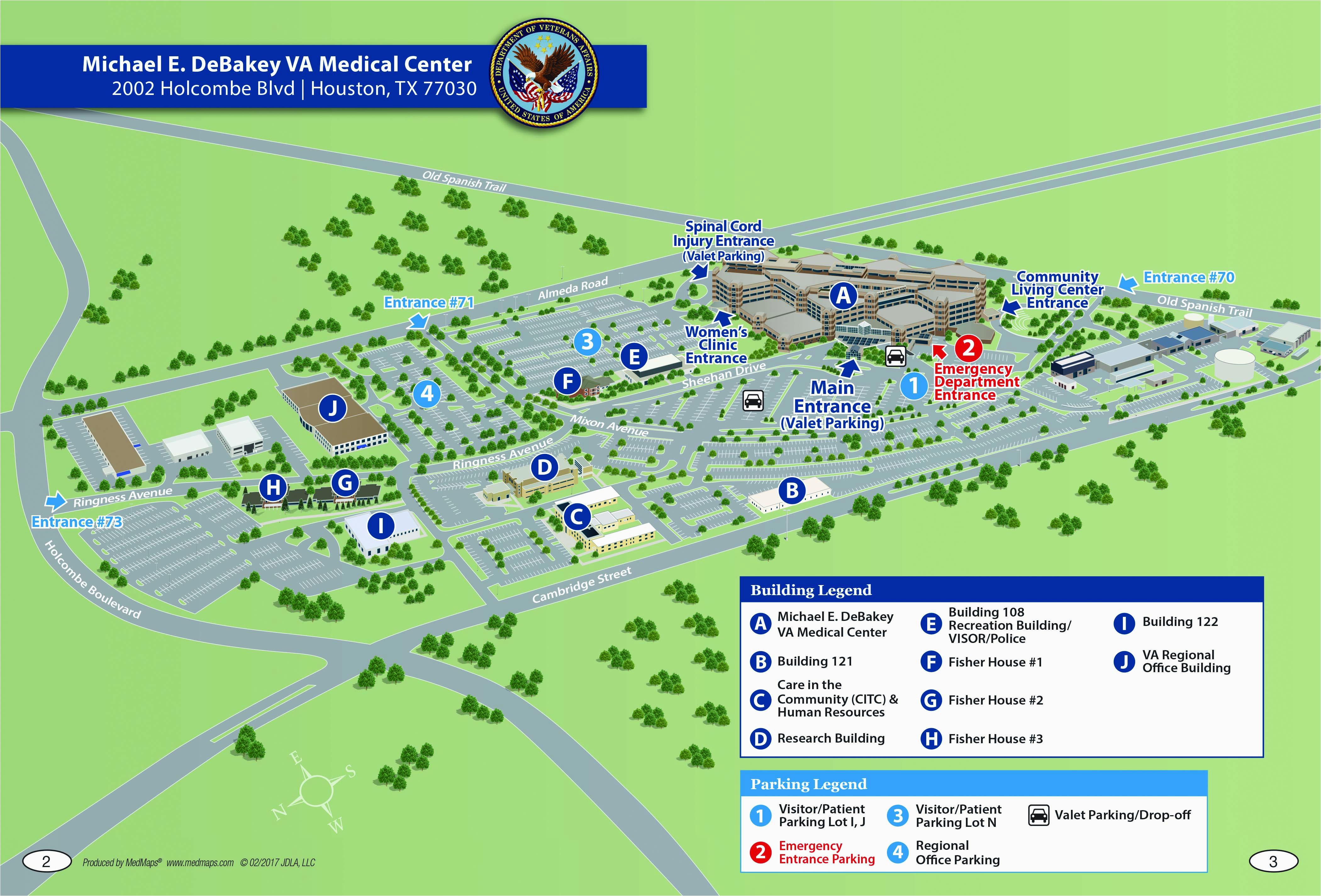 Map Of Texas Medical Center.Texas Medical Center Map Michael E Debakey Va Medical Center Houston