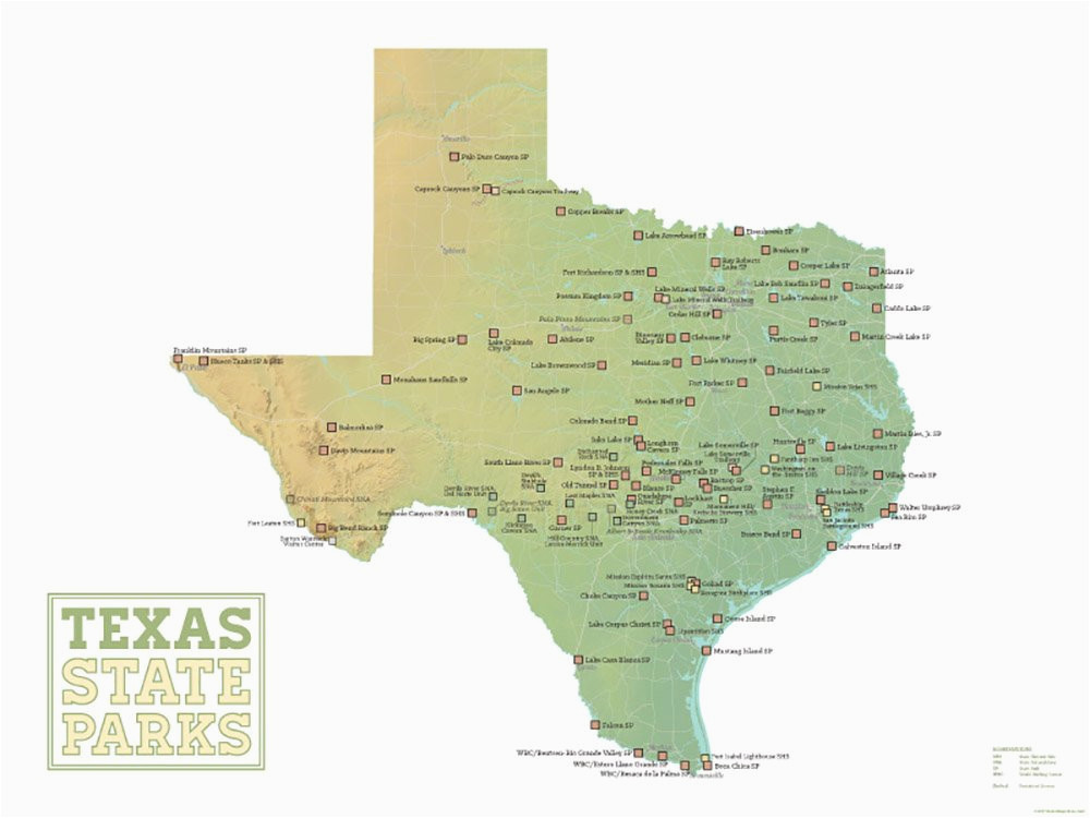 Texas National Parks Map Amazon Com Best Maps Ever Texas State Parks Map 18×24 Poster Green