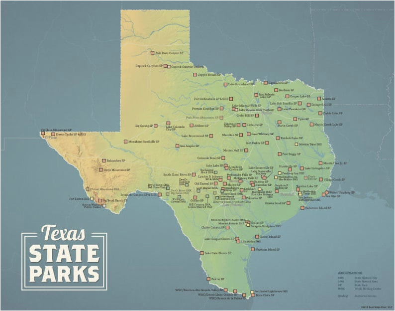 texas state parks map 11x14 print etsy