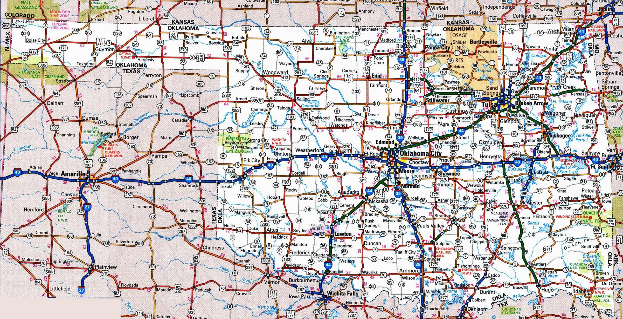 Texas Oklahoma Road Map Road Map Of Oklahoma And Texas