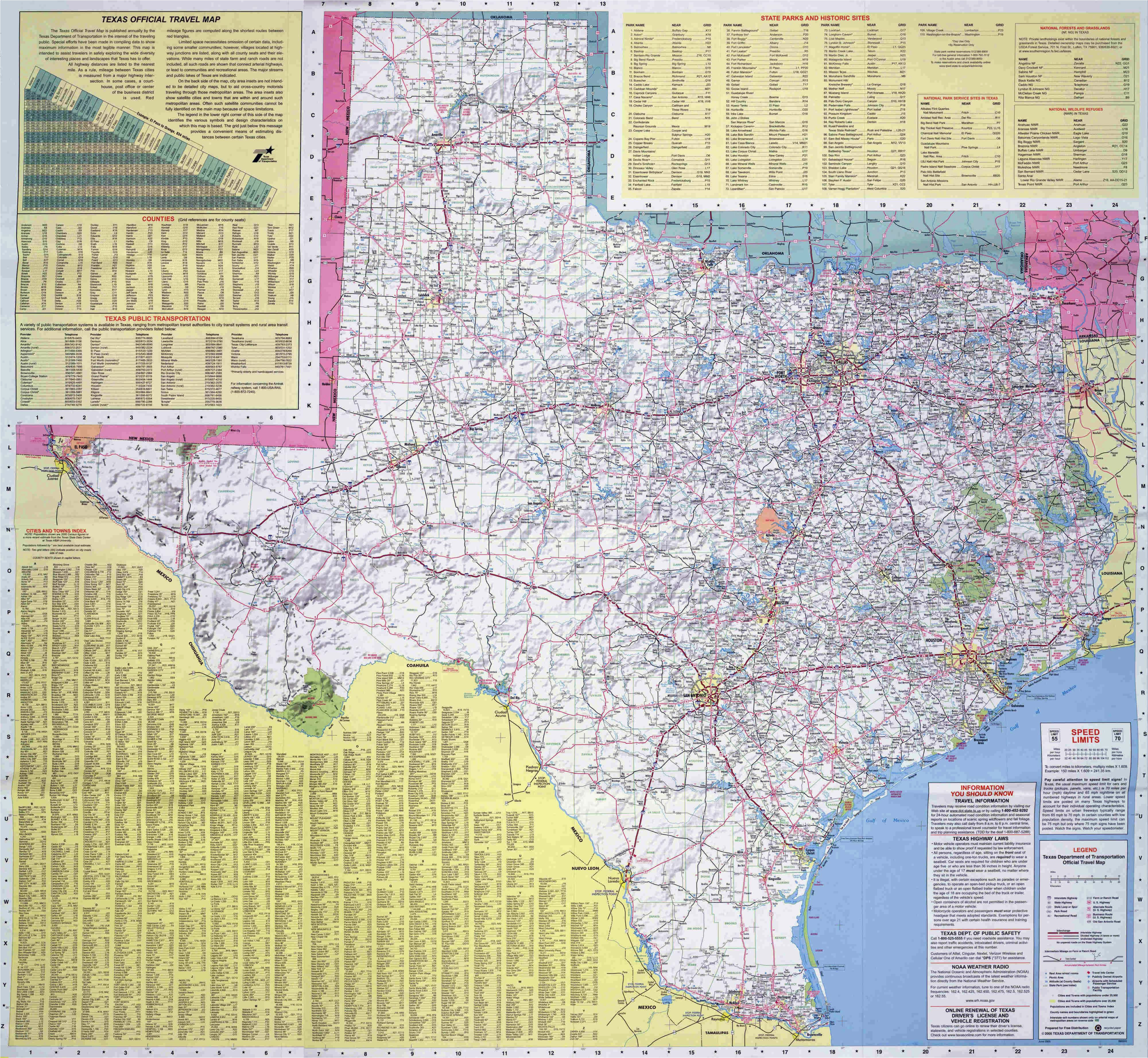 large road map of the state of texas texas state large road map