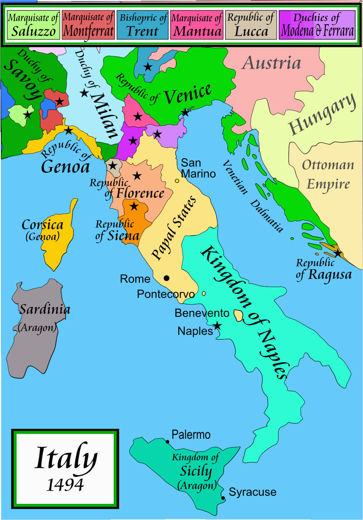 Map Of Italy And Austria With Cities.The Map Of Italy Cities Italian War Of 1494 1498 Wikipedia