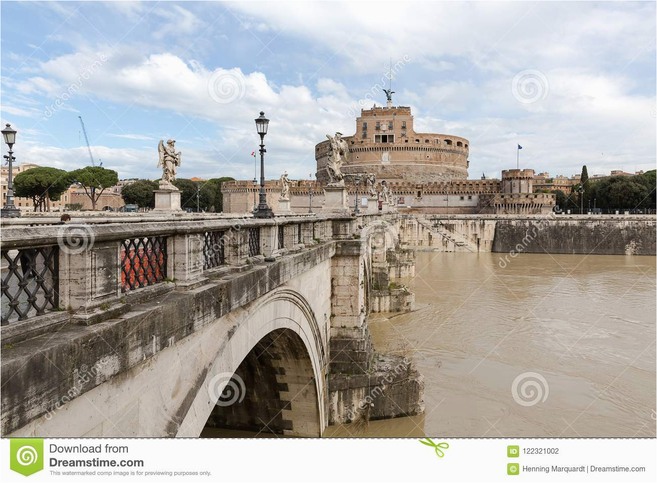 angel s castle and bridge pons aelius with river tiber rome