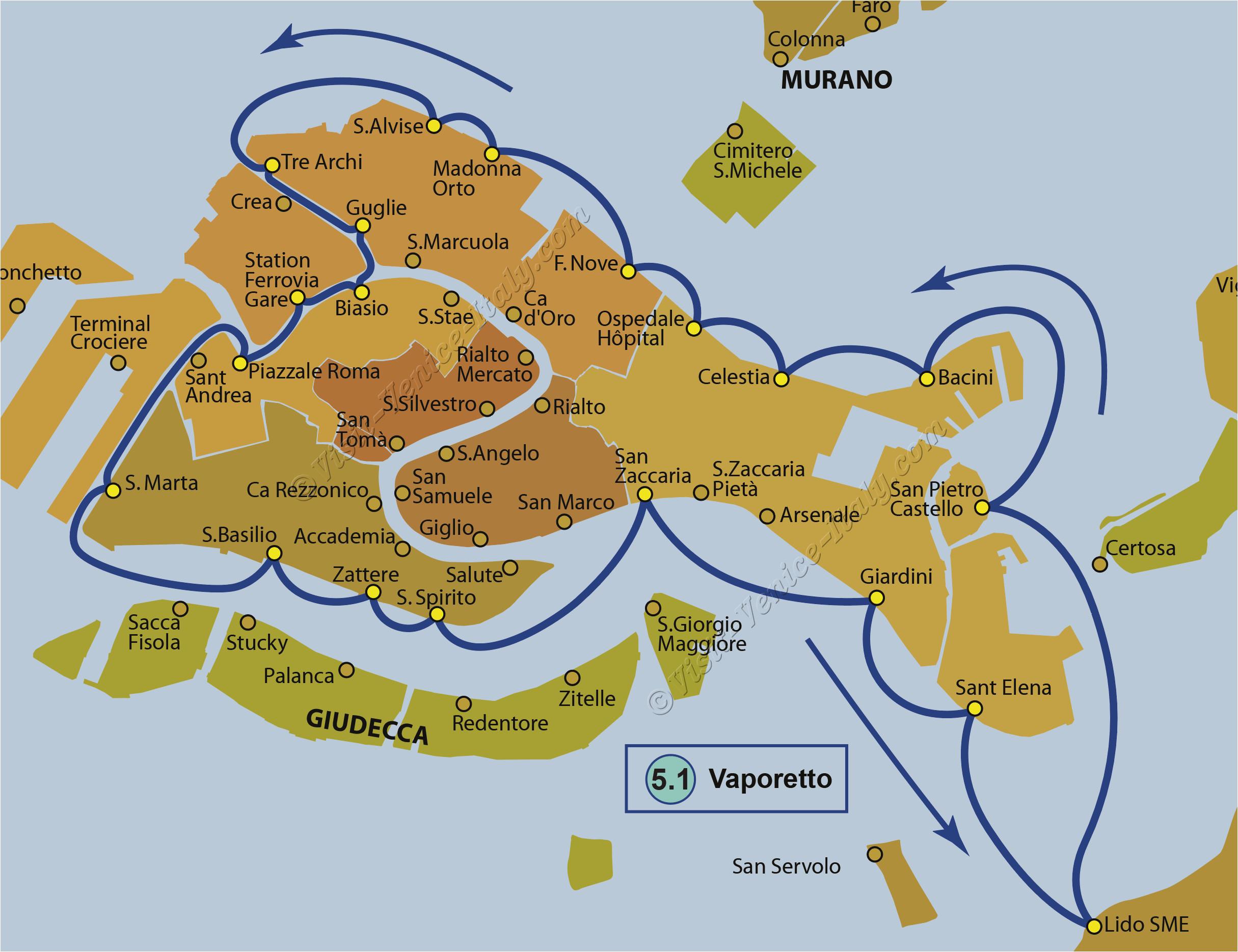 water bus venice vaporetto map of line 5 1 actv