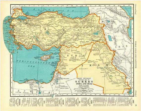 palestine and turkey 1935 vintage map colliers atlas page products
