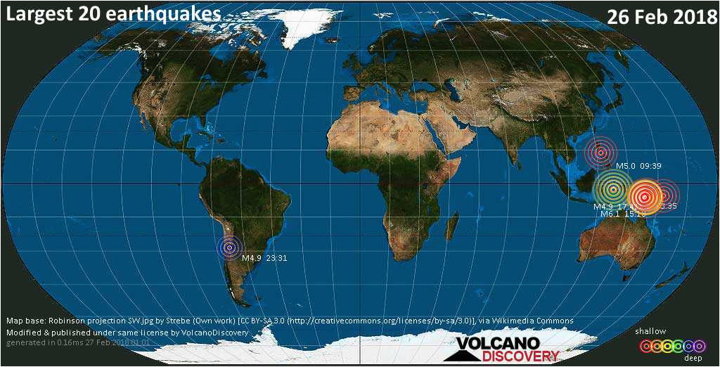 complete earthquake list for monday 26 february 2018