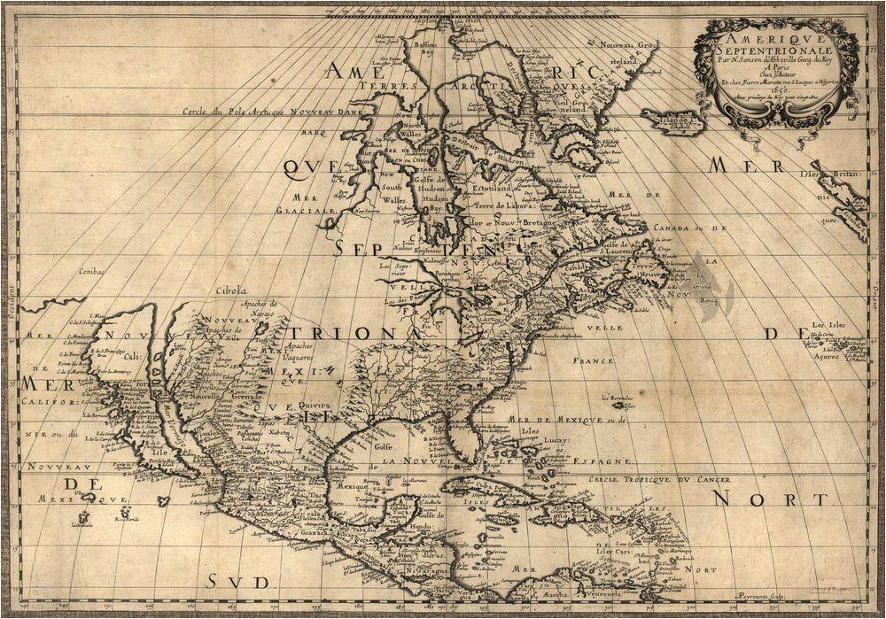 1650 map united states canada mexico antique north america 20