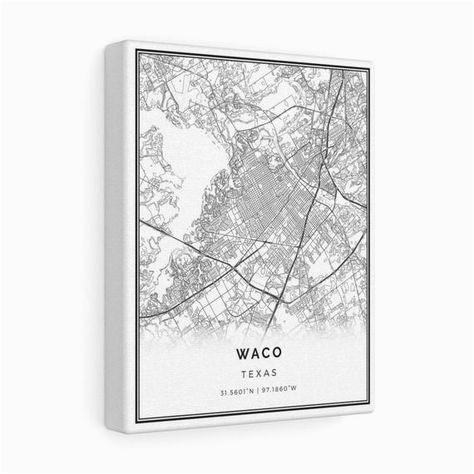 waco map canvas print city maps wall art texas gift minimalistic