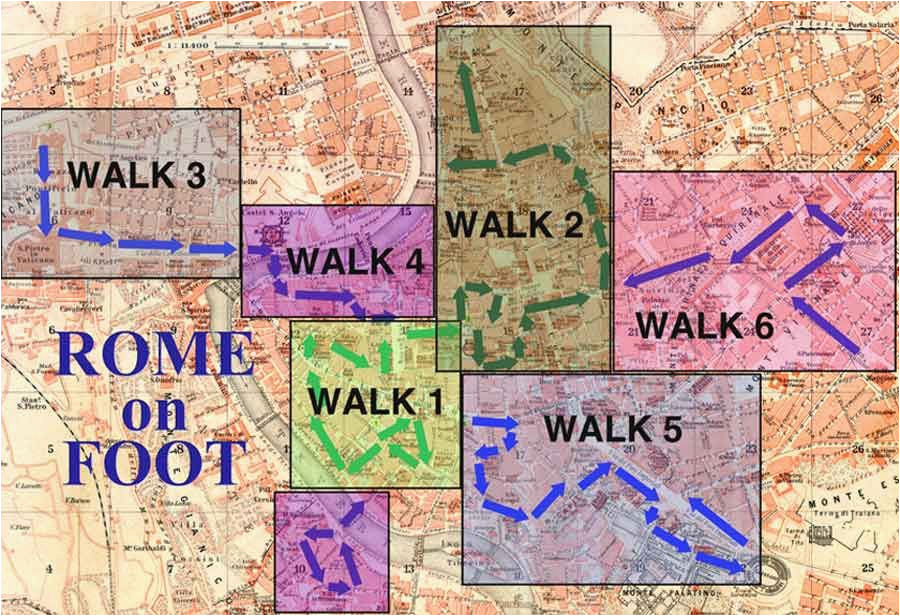 walking map of rome rome guidebook with videos rome on foot