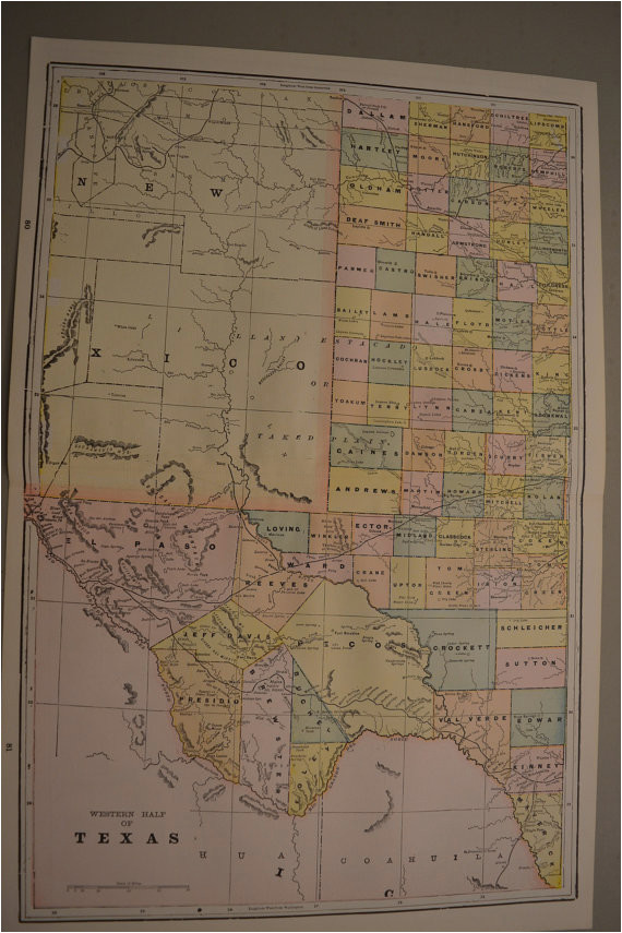 map 1897 large state map western texas vintage antique map great