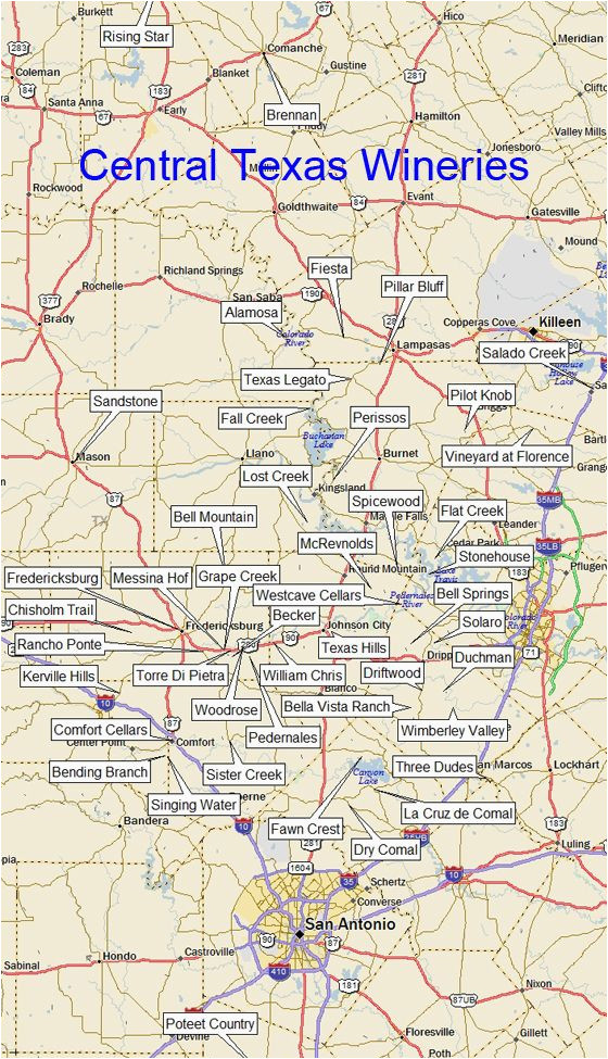 texas winery map central region dallas tx a a