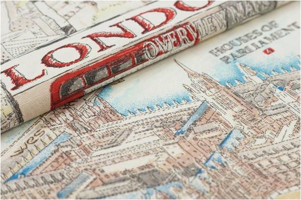 dekostoff london map uk england leinenoptik canvas bunt