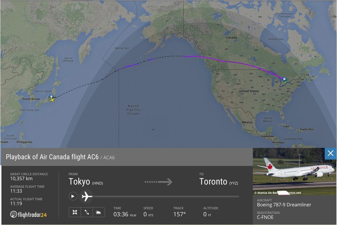 review of air canada flight from tokyo to toronto in business