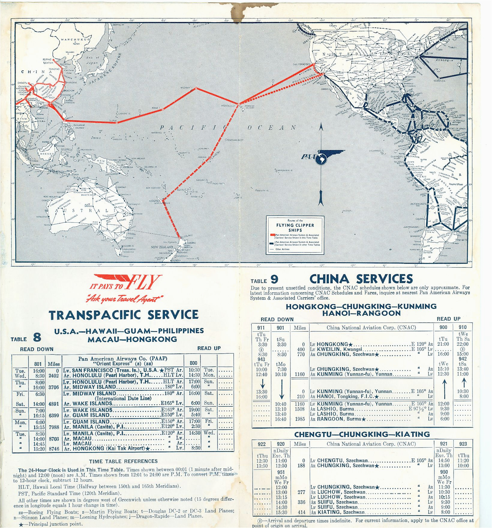 Air France Route Map Route Map and Schedules 1940 Pan American World Airways
