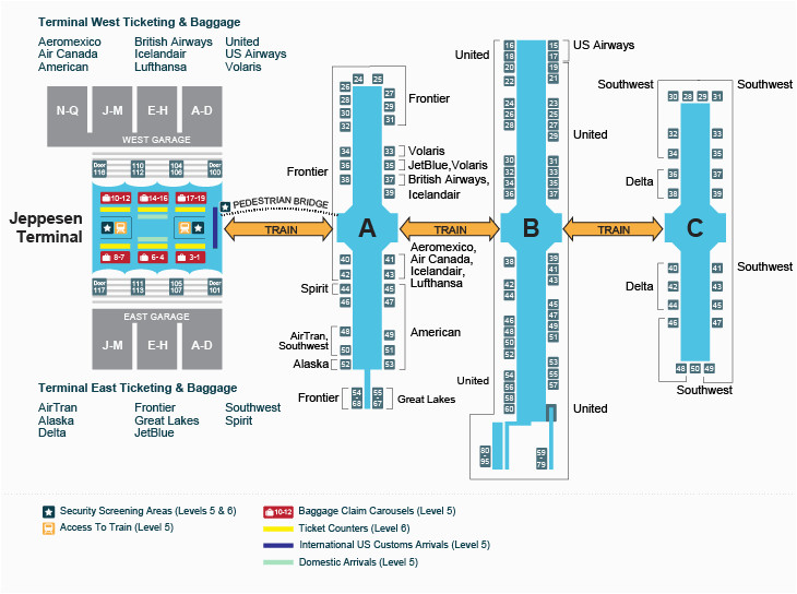 Airport Map Of France A Look Inside the Terminal and Concourses at Denver