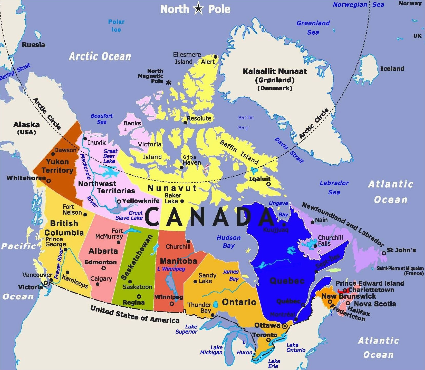 download political map of canada with major cities tourist
