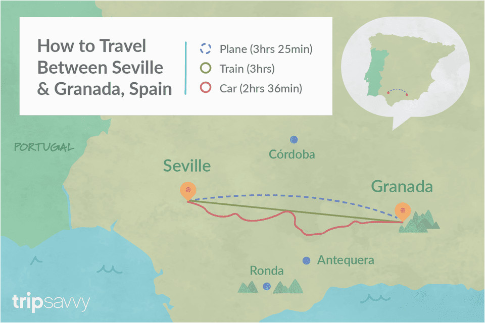 travel from seville to granada by train bus and car