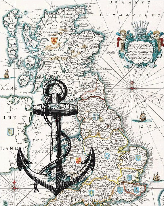 black anchor print on antique map of england wall map by printland