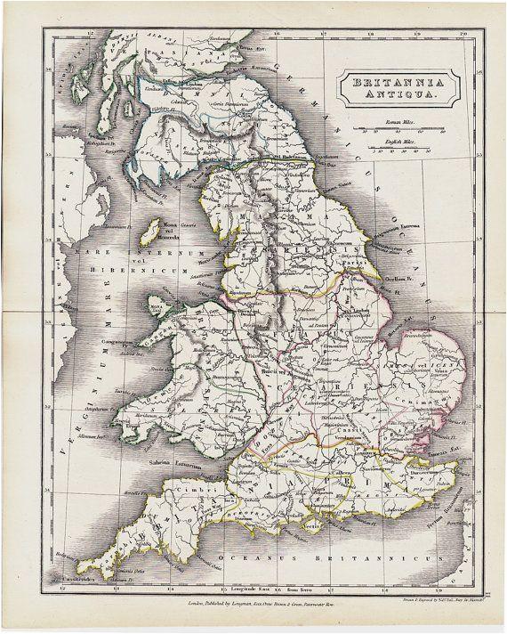 1825 antique map of ancient great britain original antique map