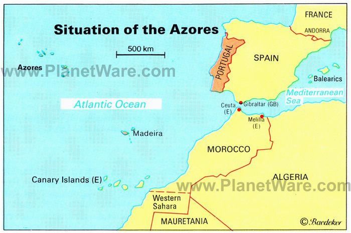 azores islands map portugal spain morocco western sahara