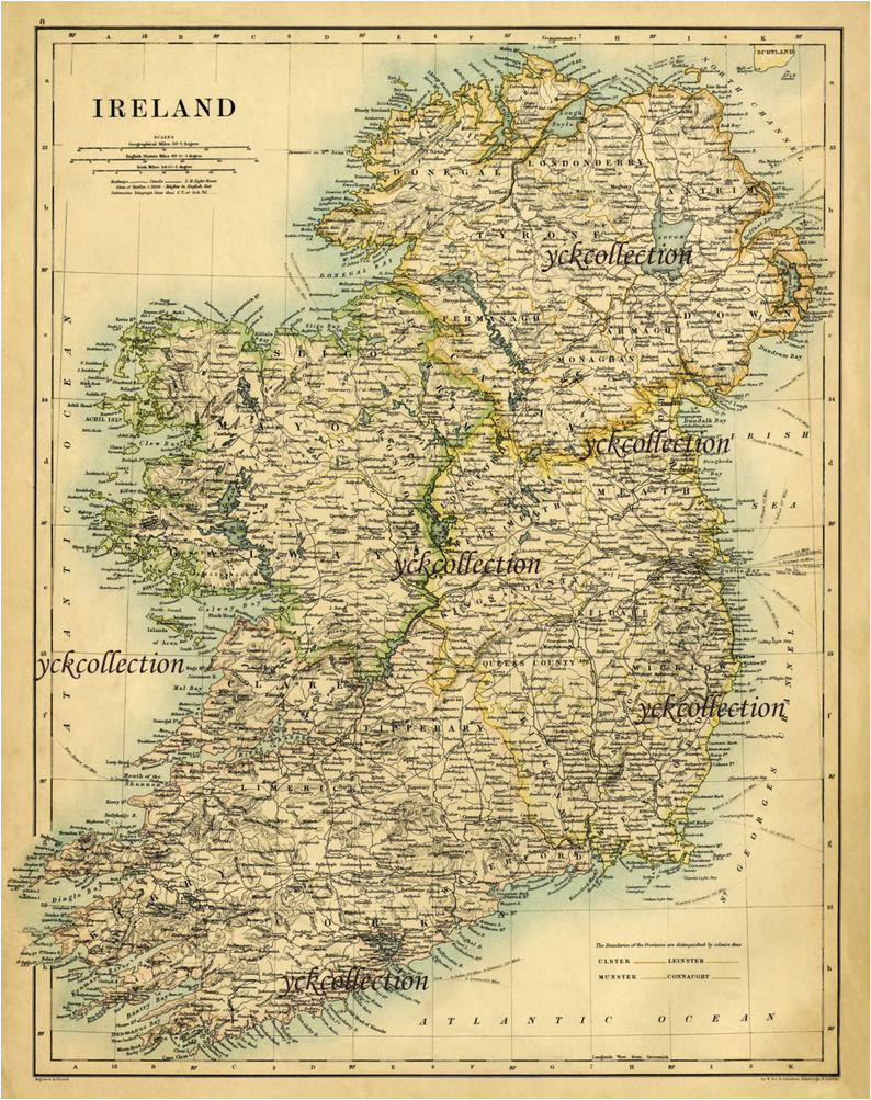antique ireland map 1887 ultra high resolution 8 x 10 to 38 x 48 300 dpi instant digital download