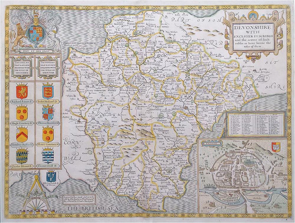 john speed devonshire original antique map dated 1676