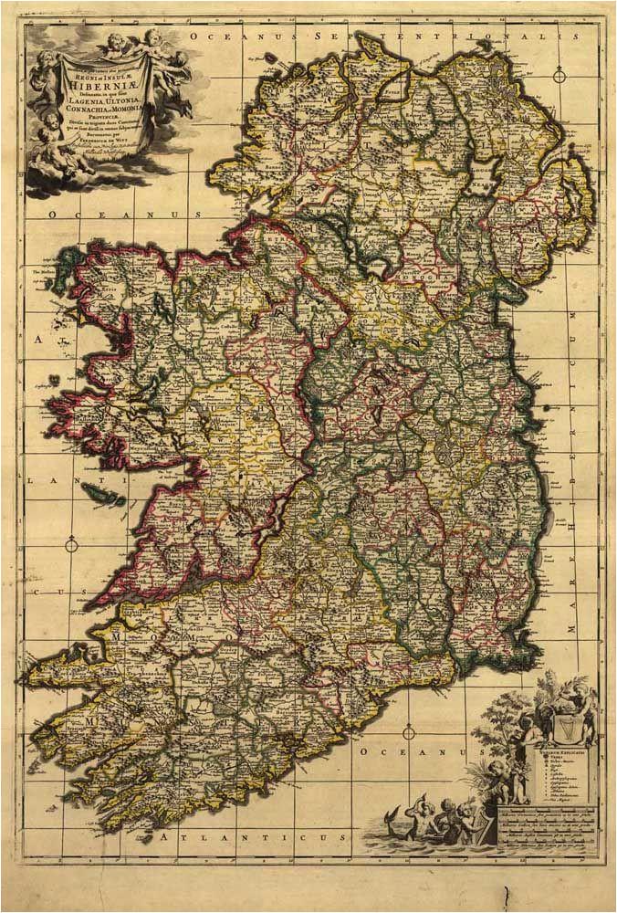 hd vintage ireland map oil painting print on canvas retro