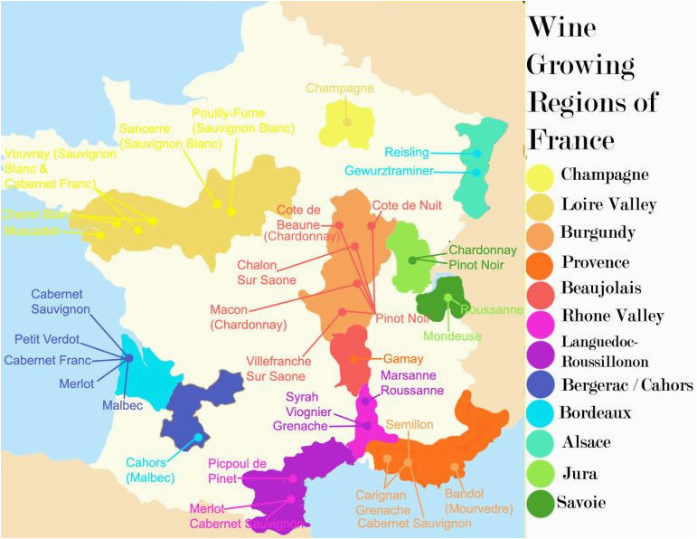 Areas Of France Map French Wine Growing Regions and An Outline Of the Wines Produced In