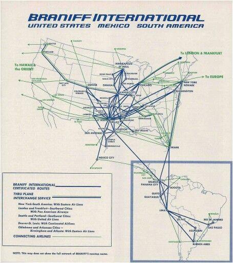 braniff international route map october 1965 braniff international