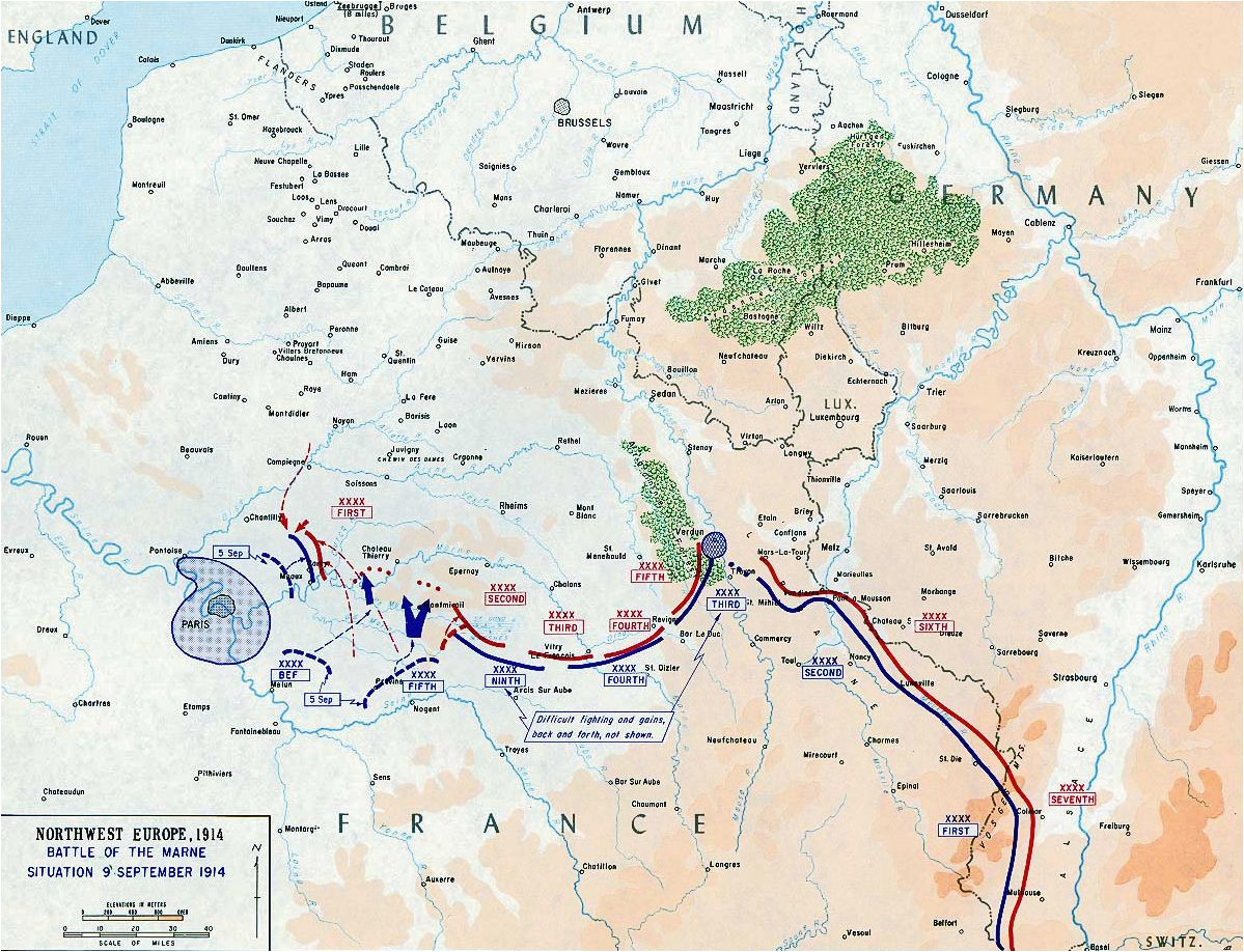 map of the first battle of the marne september 6 12 1914 ww1