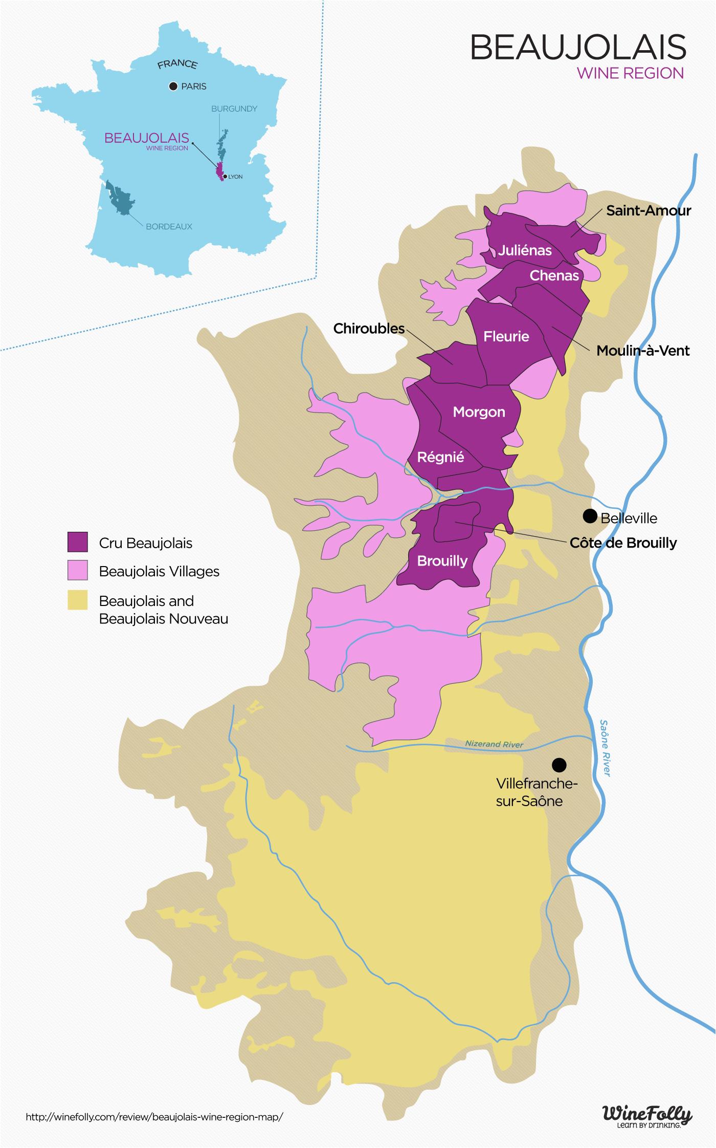 Beaujolais France Map the Secret to Finding Good Beaujolais Wine Infografics