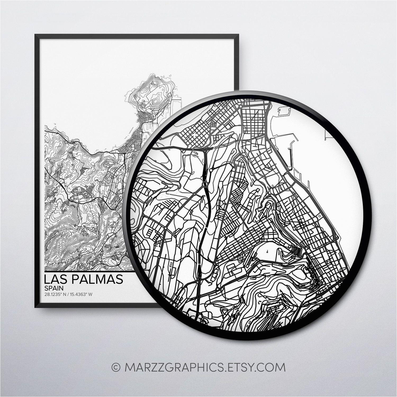 las palmas map poster print wall art spain gift printable download