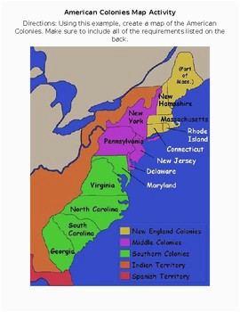 colonies map worksheets teaching resources teachers pay