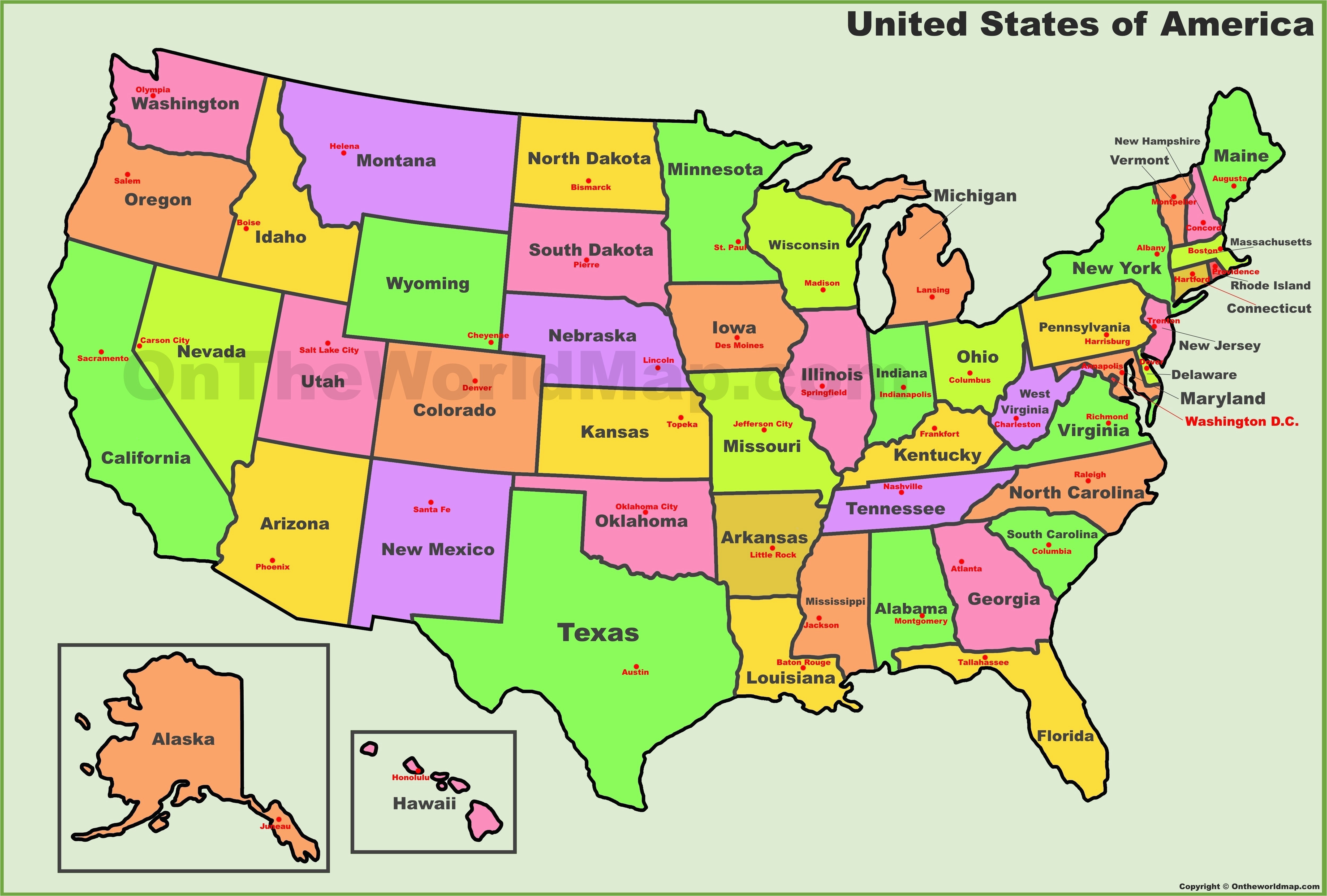 labeled map of the united states us and capitals new america