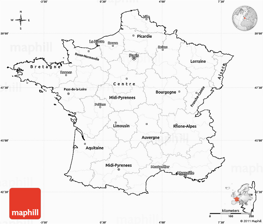 blank simple map of france cropped outside