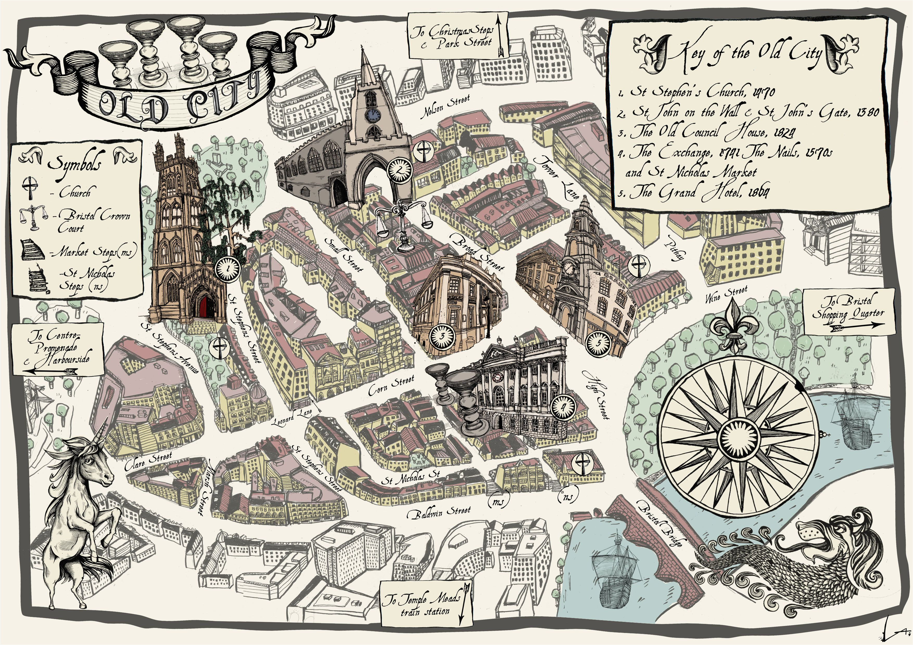 alex lucas map of bristol old city map design bristol