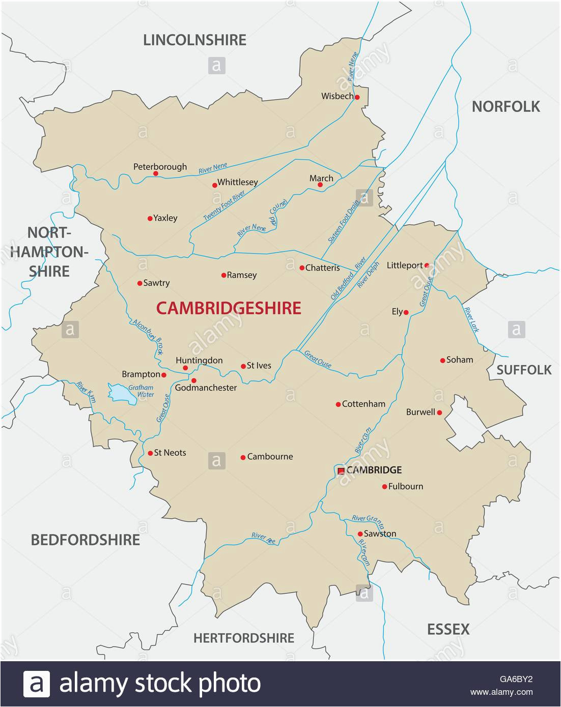 vector map county cambridgeshire stock photos vector map county