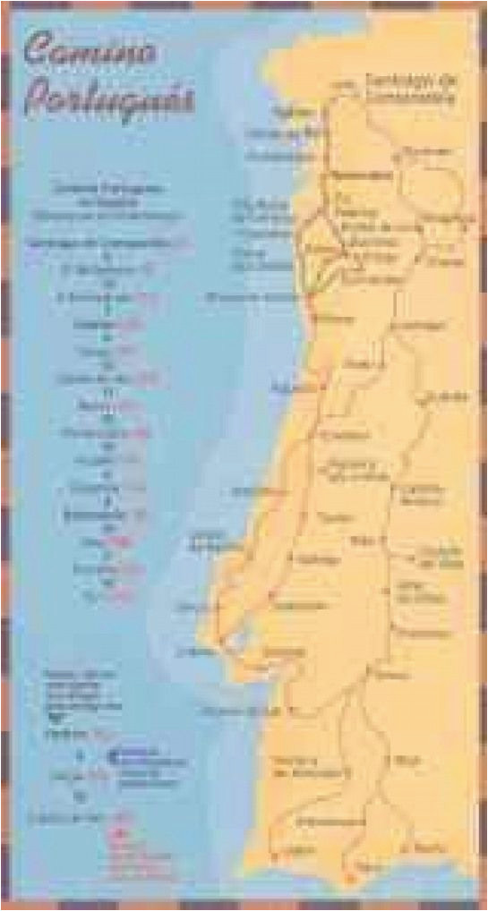 mapas e guias do caminho portuguaas de santiago dobrar fronteiras