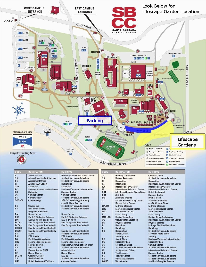 Canada College Campus Map Sbcc Campus Map Santa Barbara City College Sbcc Santa