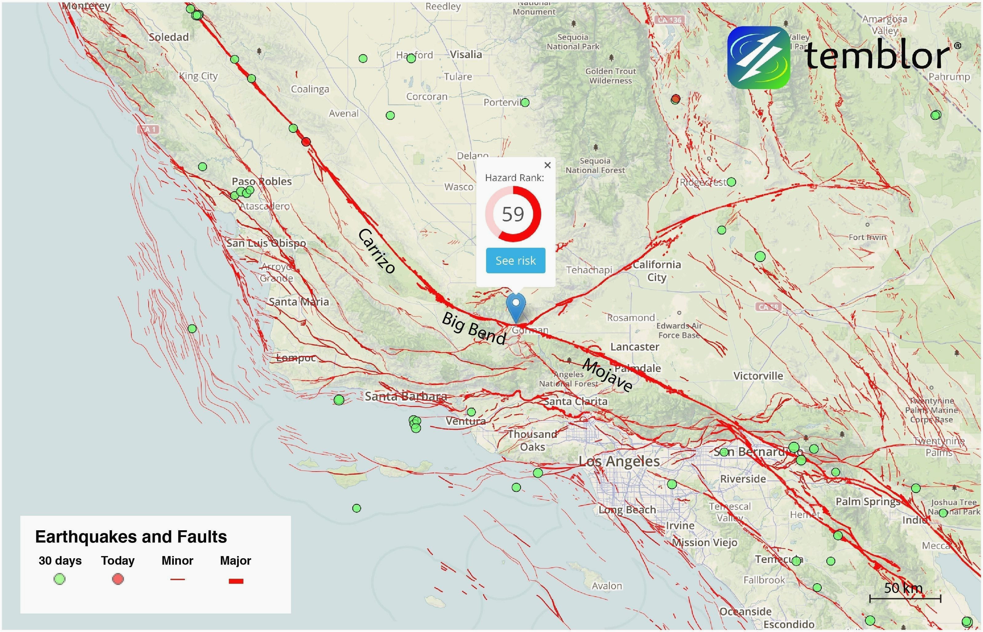 map of earthquakes in california us earthquake map awesome