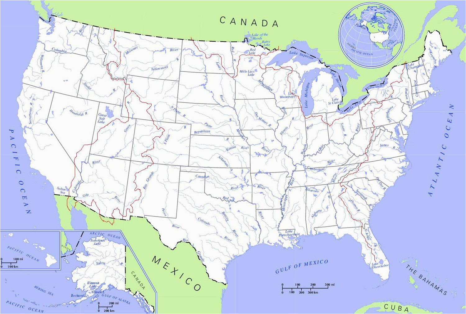 united states rivers and lakes map mapsof net camp