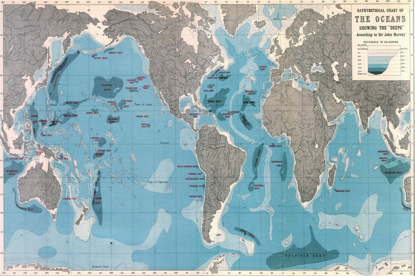 world ocean depths map wallpaper mural home world map