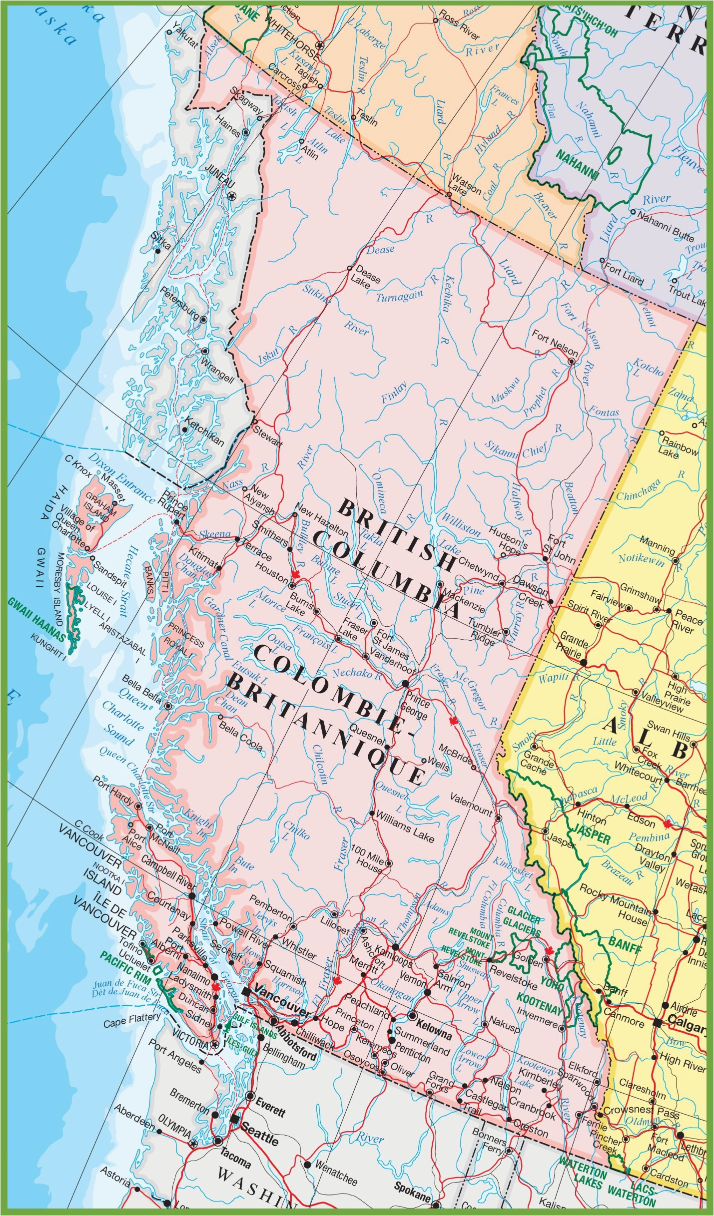 large detailed map of british columbia with cities and towns