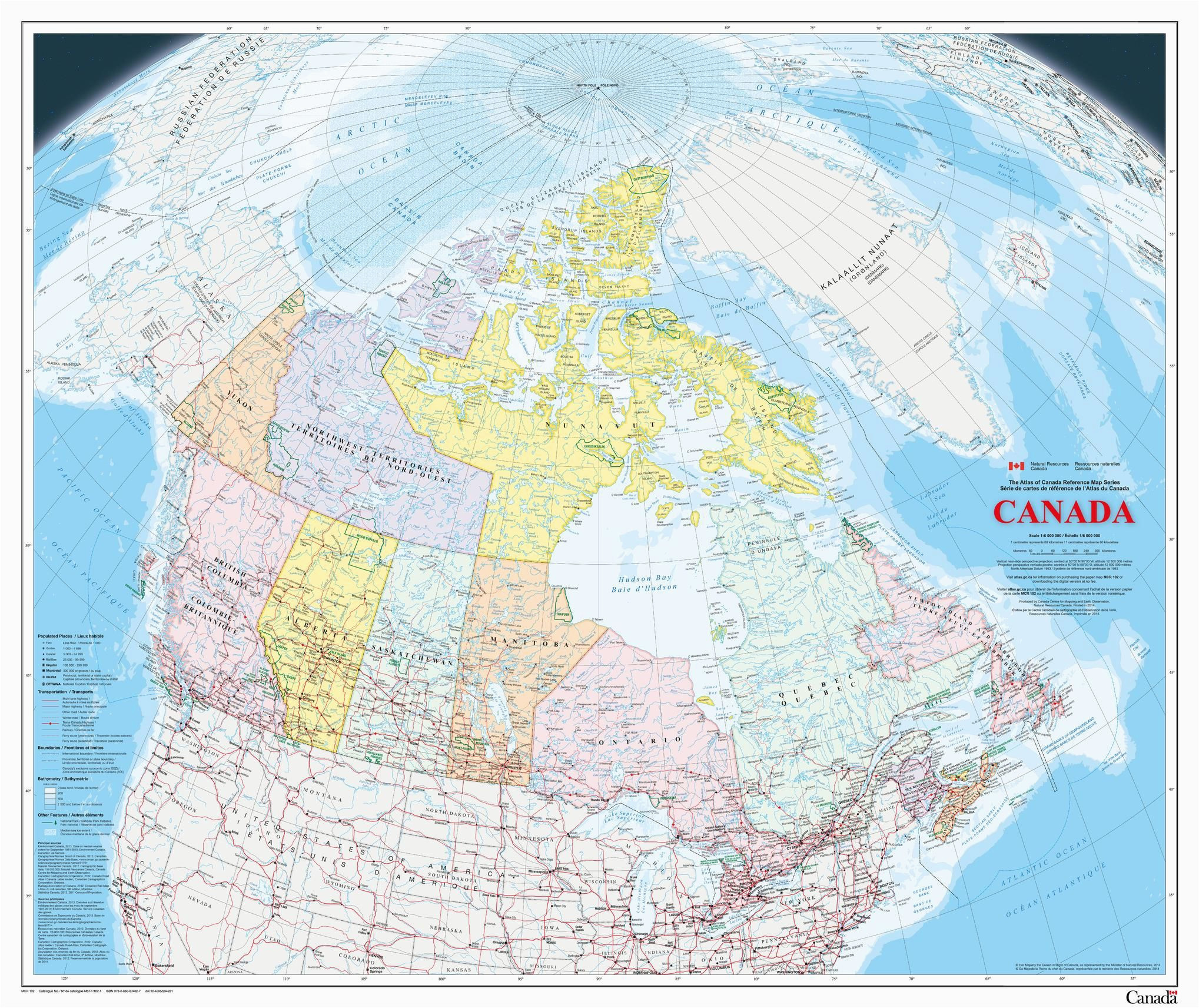 canada wall map large english french atlas of canada