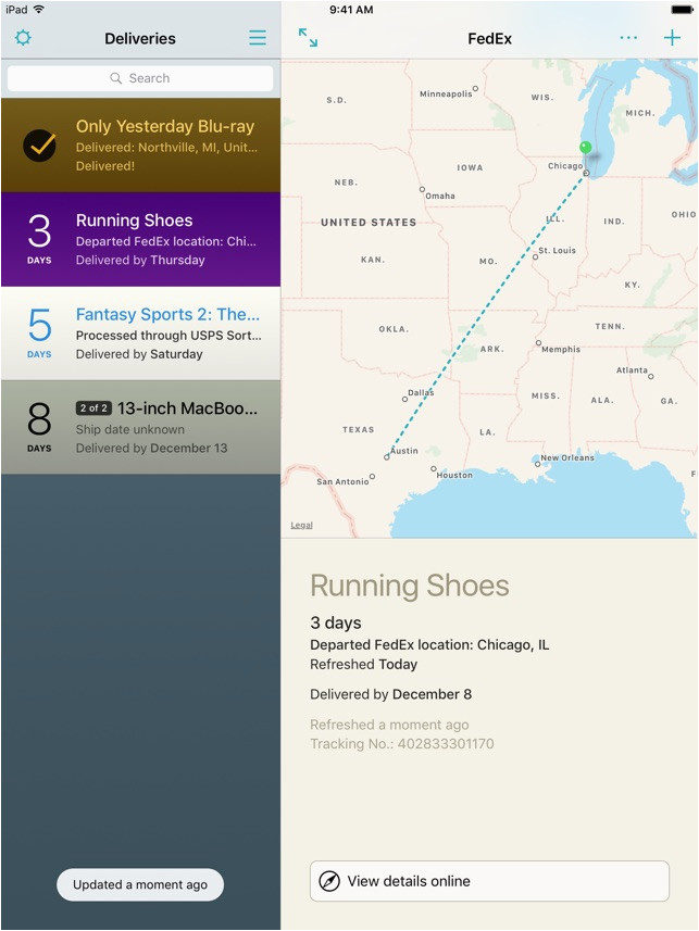 deliveries a package tracker
