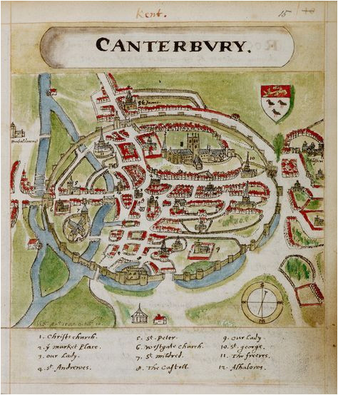 a historic map of canterbury by anonymous british library prints
